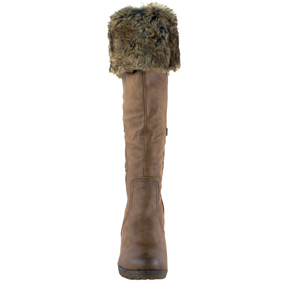 WOMENS-LADIES-MID-WEDGE-HIGH-HEEL-FUR-LINED-WARM-WINTER-KNEE-CALF-ZIP-BOOTS-SIZE thumbnail 13