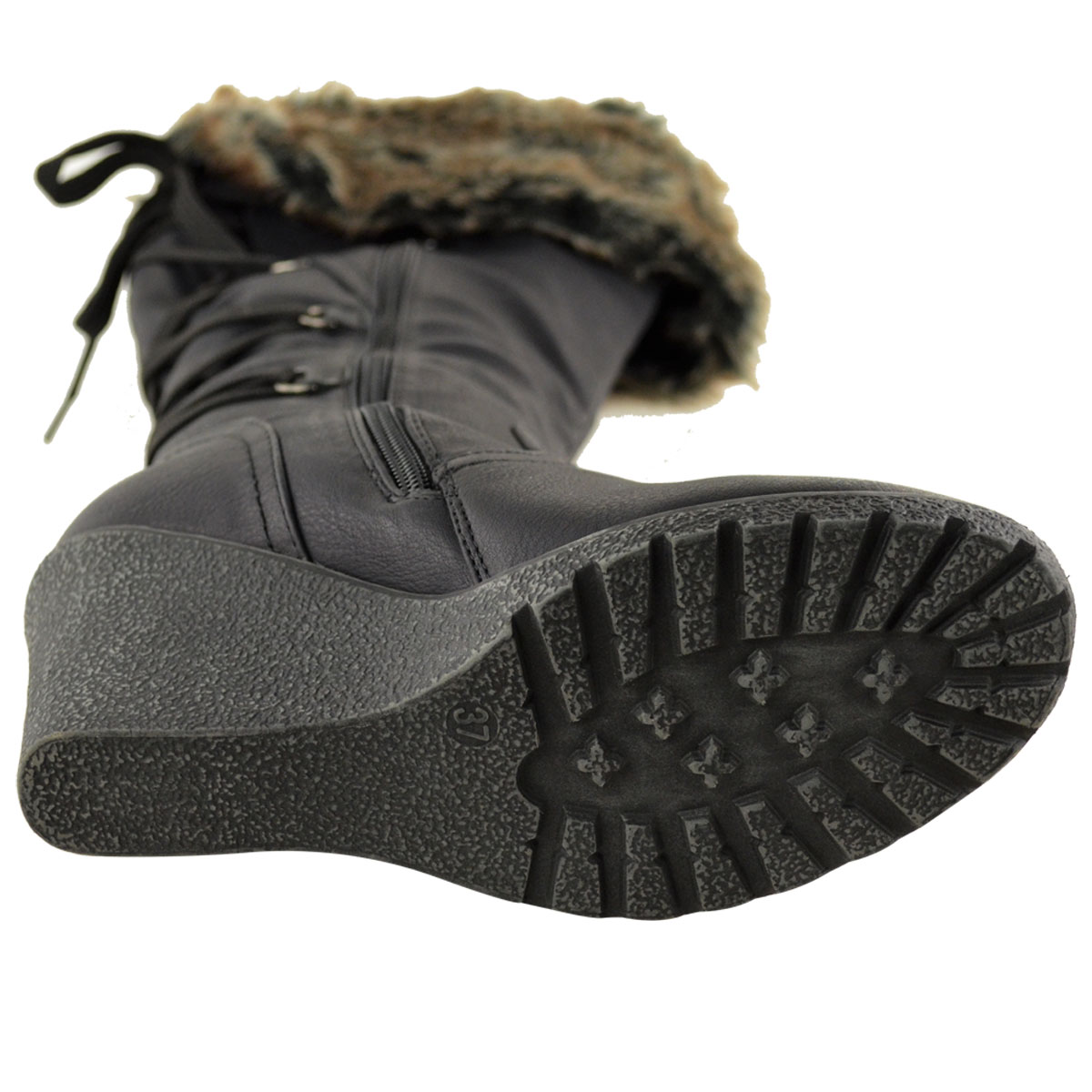 WOMENS-LADIES-MID-WEDGE-HIGH-HEEL-FUR-LINED-WARM-WINTER-KNEE-CALF-ZIP-BOOTS-SIZE thumbnail 15