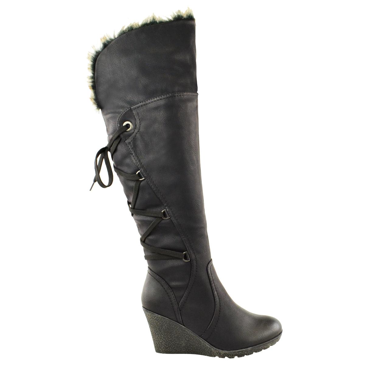 Womens-Ladies-Wedge-Low-Heel-Winter-Knee-Boots-Warm-Faux-Fur-Fleece-Size-UK thumbnail 3