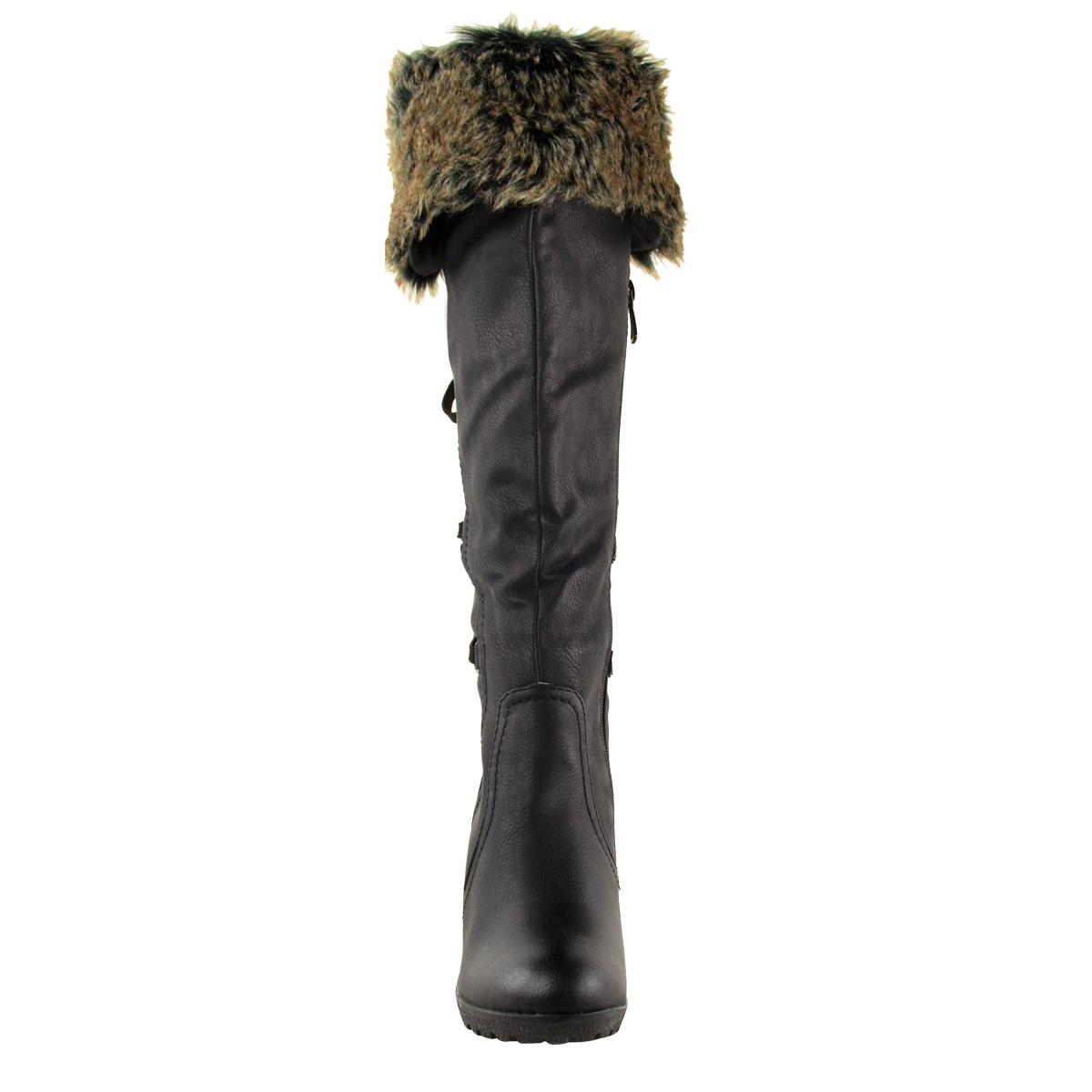 Womens-Ladies-Wedge-Low-Heel-Winter-Knee-Boots-Warm-Faux-Fur-Fleece-Size-UK