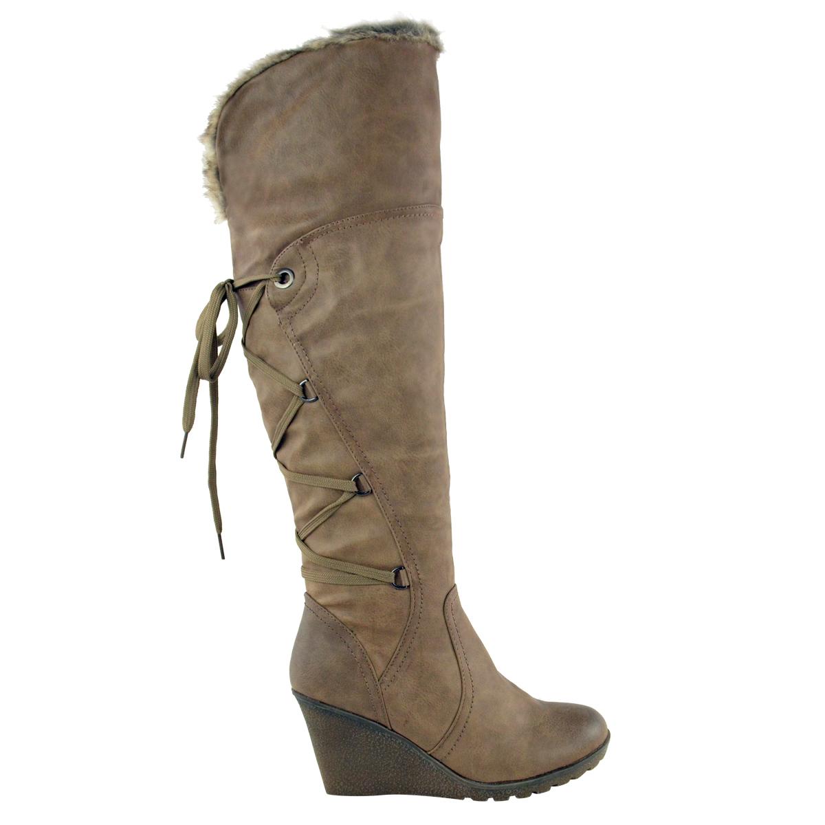 Womens-Ladies-Wedge-Low-Heel-Winter-Knee-Boots-Warm-Faux-Fur-Fleece-Size-UK thumbnail 8