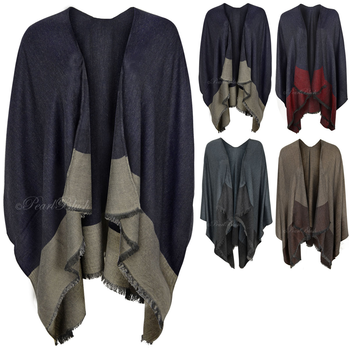 New Womens Ladies Kimono Waterfall Cardigan Shrug Wrap Winter Warm ...