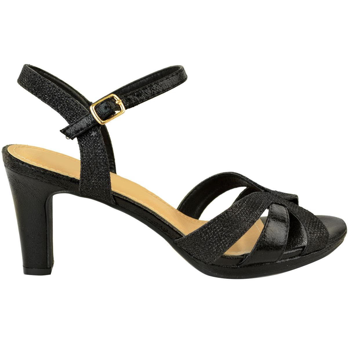 Womens Ladies Mid Block Heel Strappy Sandals Wedding