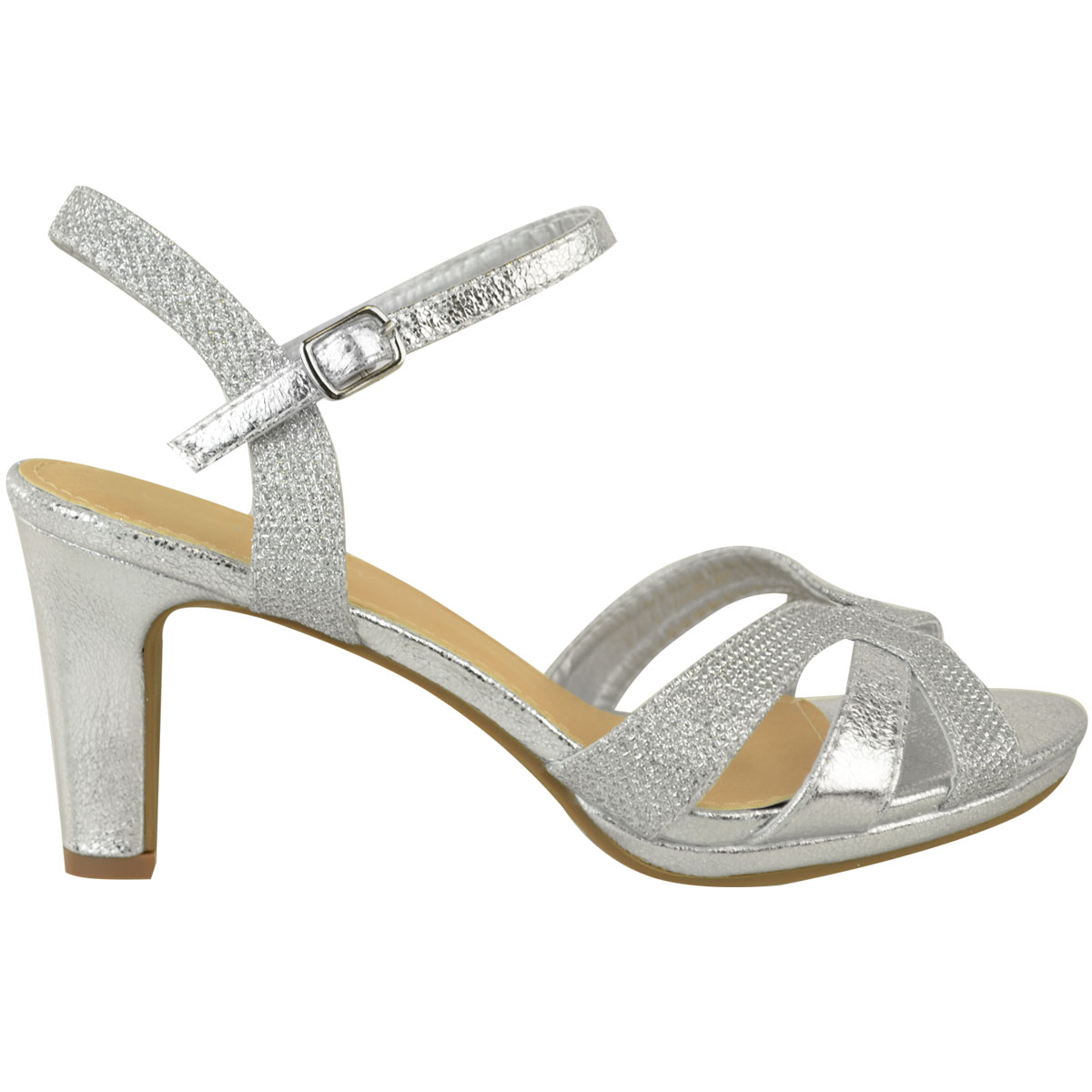 Details about Womens Ladies Mid Block Heel Strappy Sandals Wedding Glitter Bridal Party Size