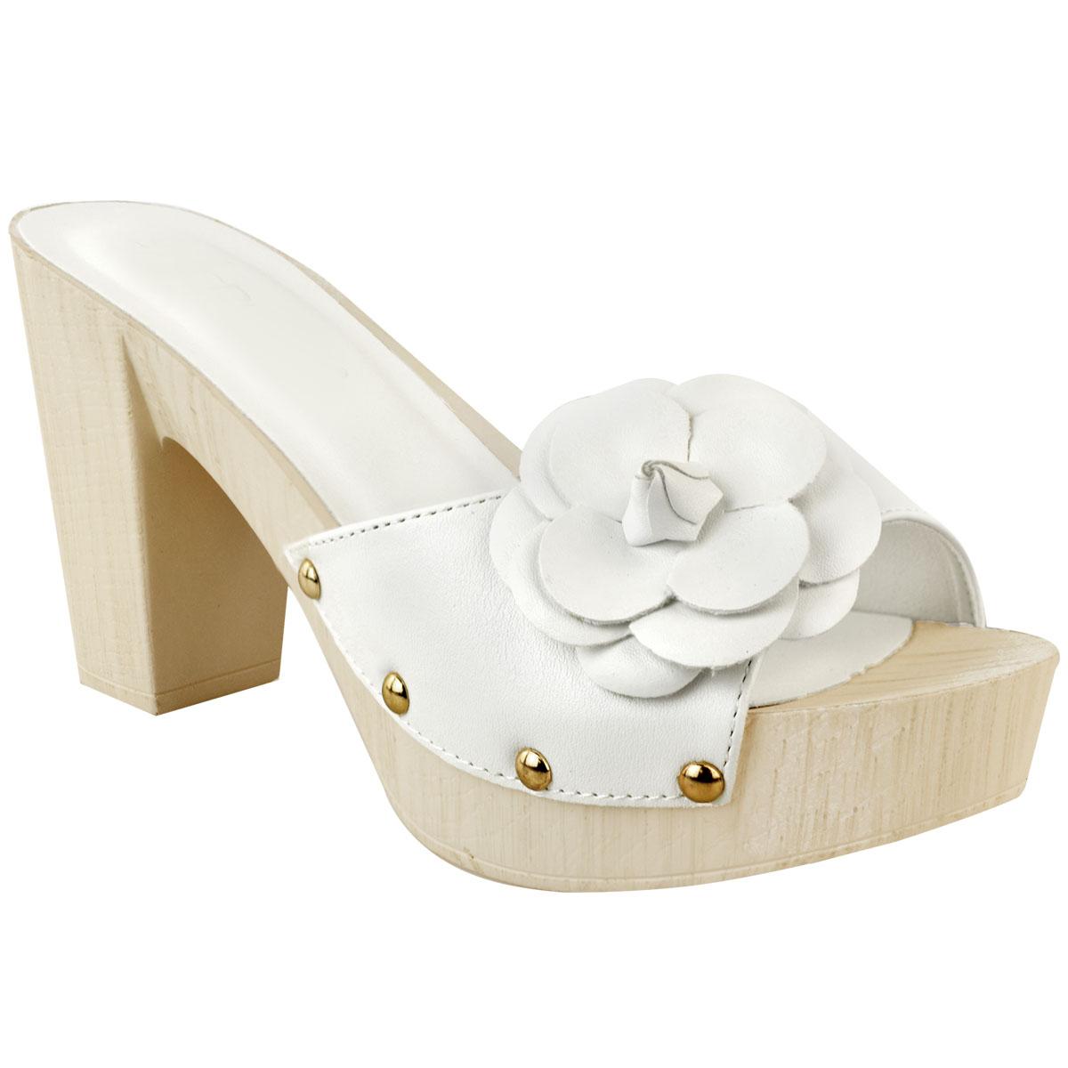 4433de36605 Womens Ladies Clog Wedge Low Heel Sandals Mules Slip On Wood Summer ...