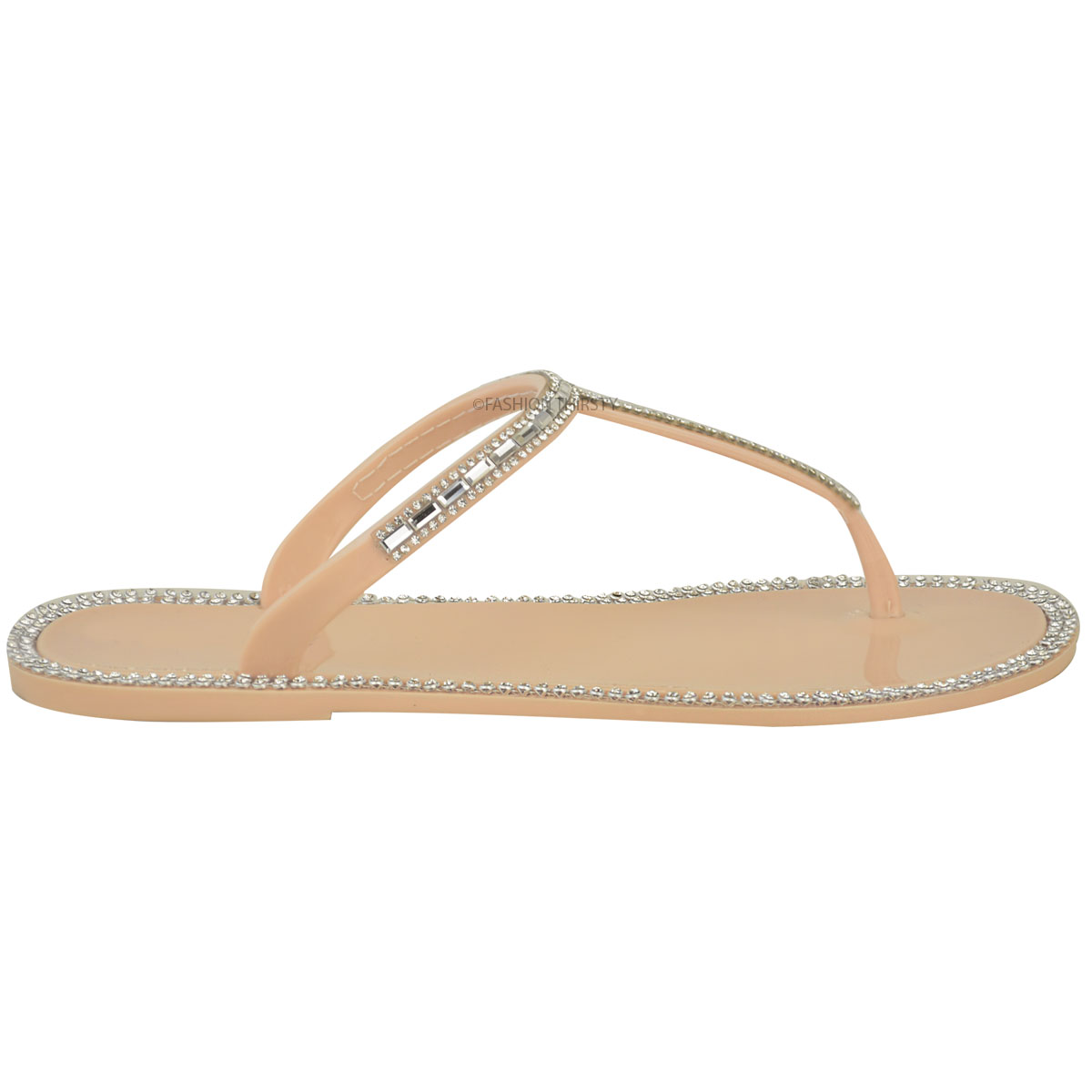 ad703df985d Details about Womens Ladies Diamante T Bar Flat Strappy Jelly Sandals Flip  Flops Holiday Size