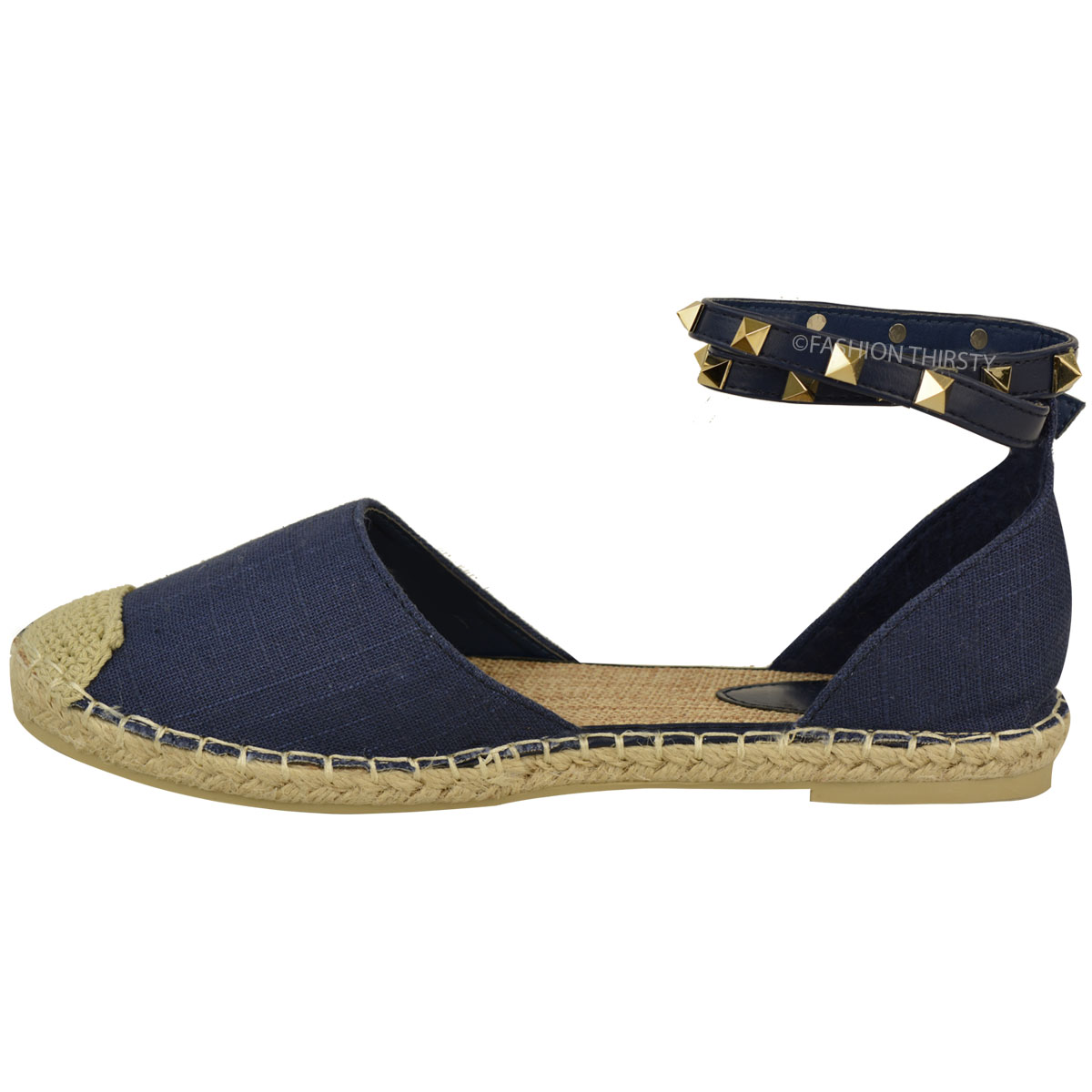 damen espadrilles sandalen mit nieten am kn chelriemchen flache sommer schuhe ebay. Black Bedroom Furniture Sets. Home Design Ideas
