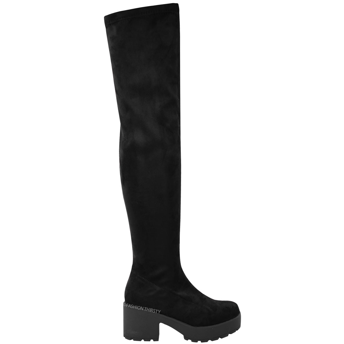 LADIES WOMENS THIGH HIGH OVER THE KNEE CHUNKY PLATFORM HEEL ...