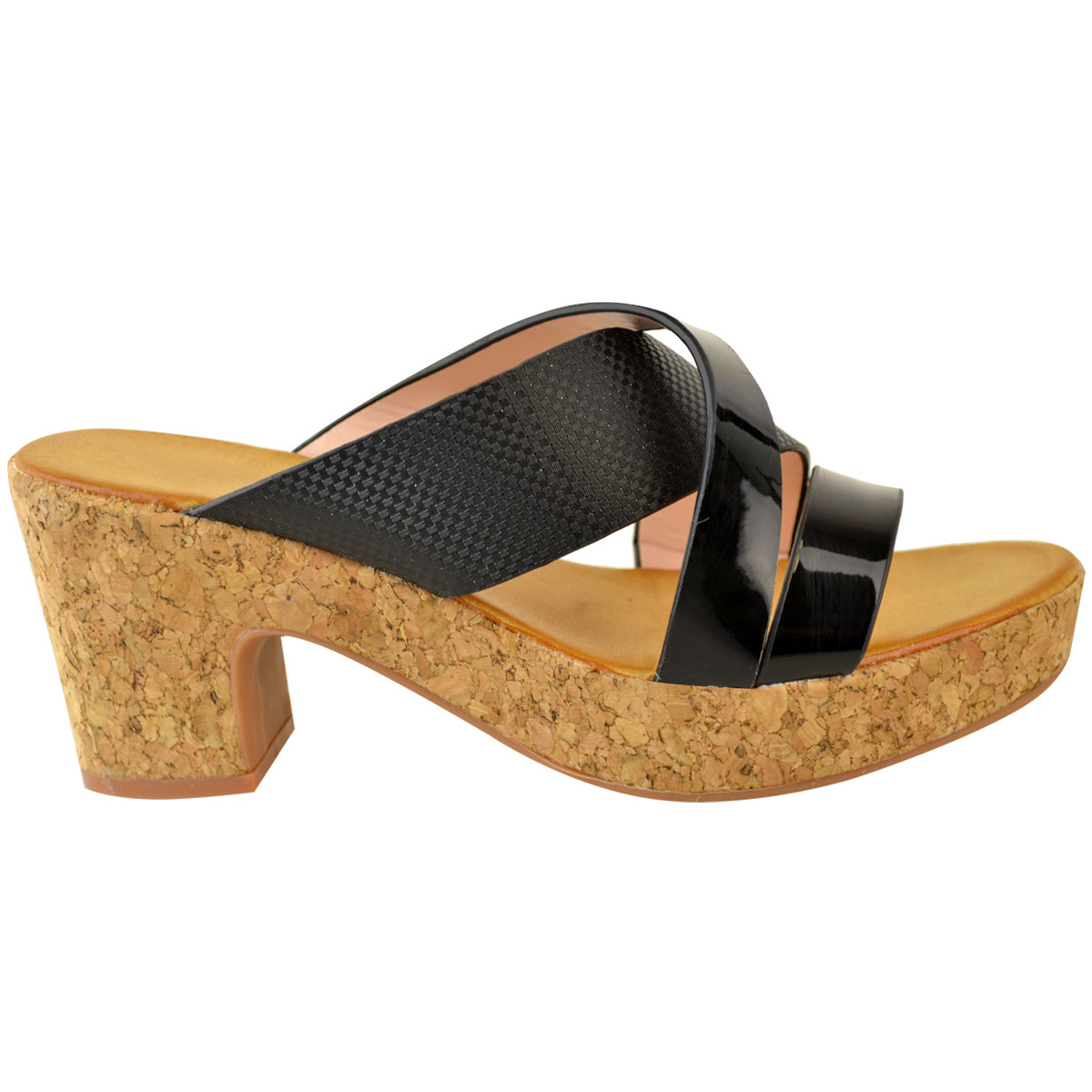Womens Ladies Low Heel Wedge Cork Sandals Silver Black