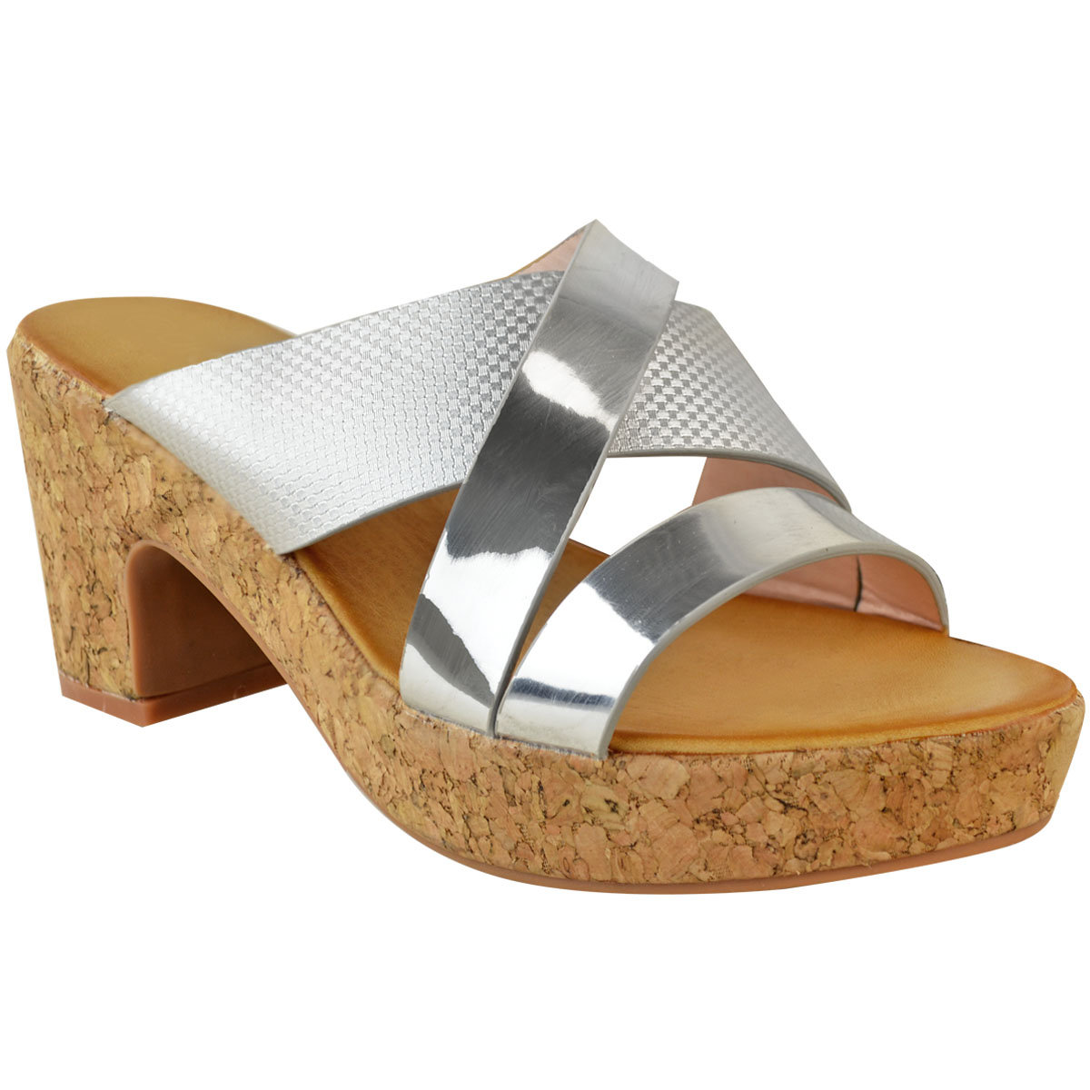 Womens Ladies Low Heel Wedge Cork Sandals Silver Black ...