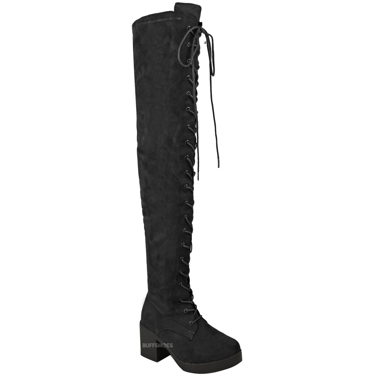 womens the knee boots lace up block heel thigh