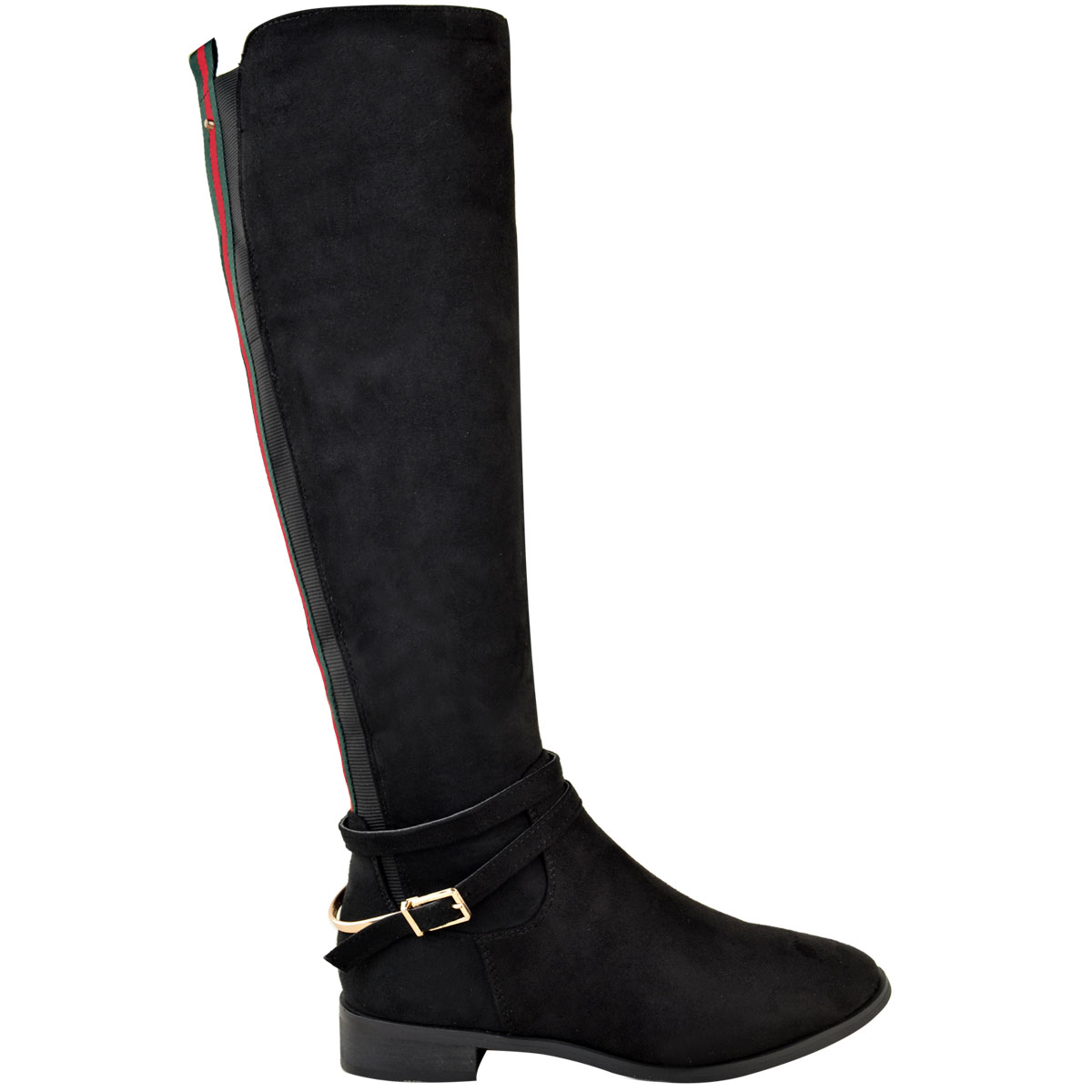Womens-Ladies-Flat-Stretch-Knee-High-Riding-Boots-Grip-Sole-Winter-Shoes-Size-UK Indexbild 10