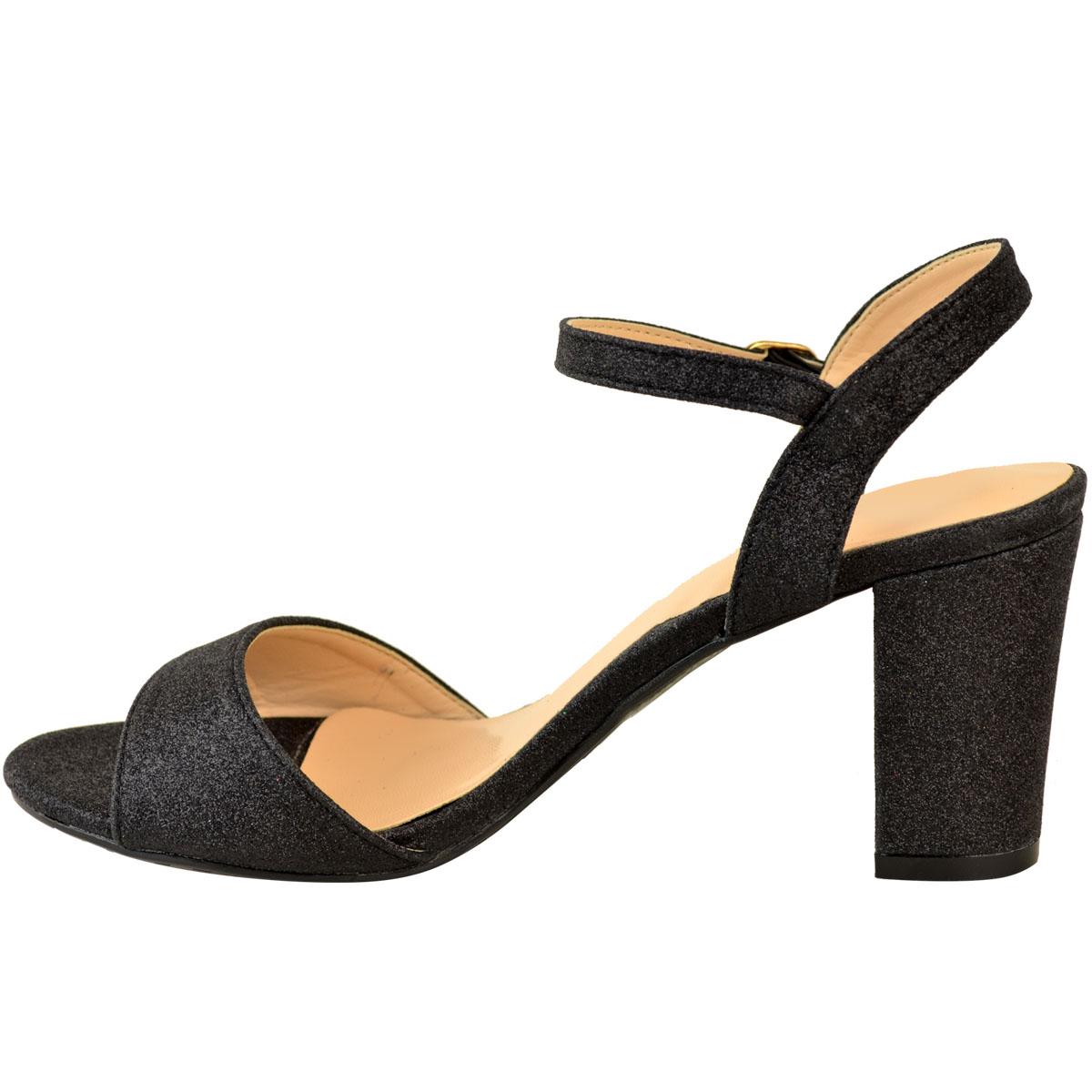 Ladies-Womens-Low-Block-Heel-Party-Bridal-Glitter-Sandals-Wedding-Prom-Shoes-Sz