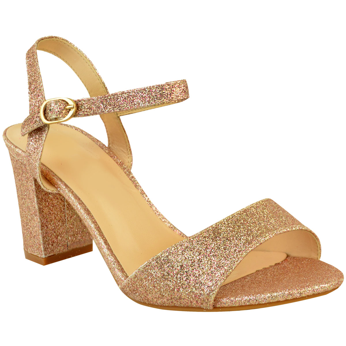 Ladies Womens Low Block Heel Party Bridal Glitter Sandals ...