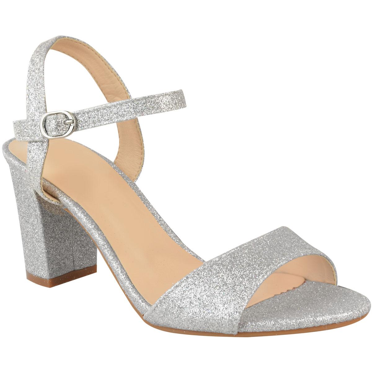 c7f78226a3ea Ladies Womens Low Block Heel Party Bridal Glitter Sandals Wedding ...