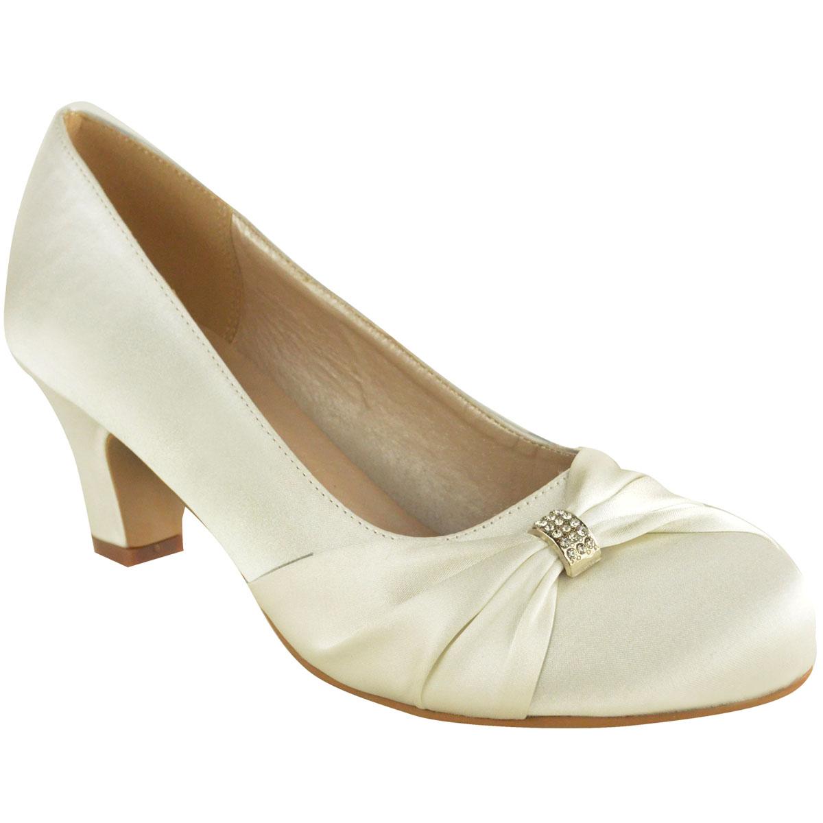 Womens Wedding Shoes: Womens Wedding Shoes Ladies Low Mid Heels Bridal