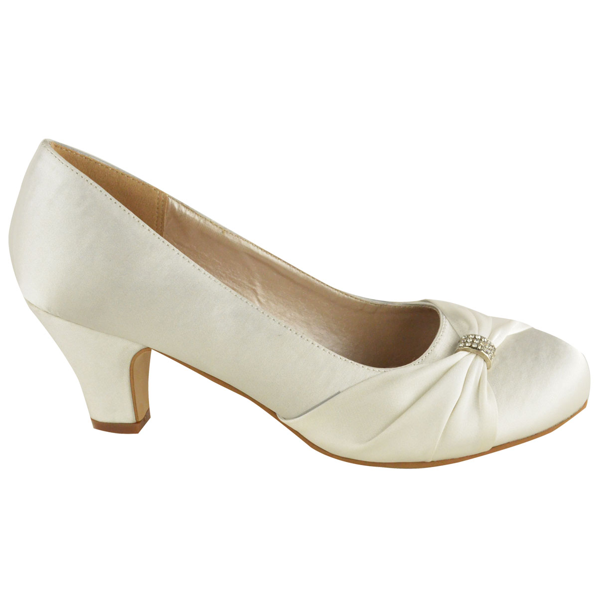 Womens-Wedding-Shoes-Ladies-Low-Mid-Heels-Bridal-Bridesmaid-Party-Sandals-Courts Indexbild 11