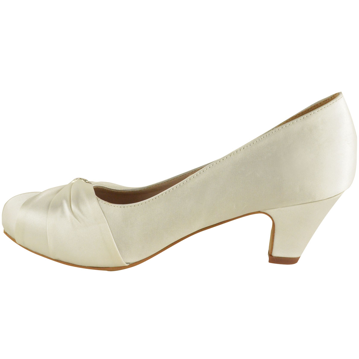 Womens-Wedding-Shoes-Ladies-Low-Mid-Heels-Bridal-Bridesmaid-Party-Sandals-Courts Indexbild 12