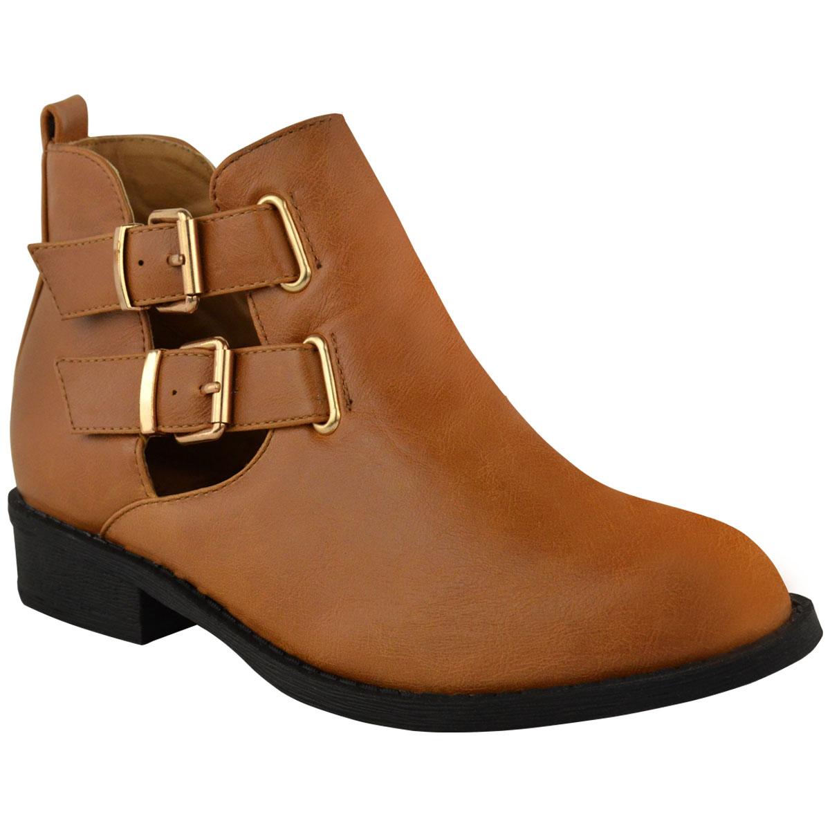 womens flat cut out chelsea boots block heel