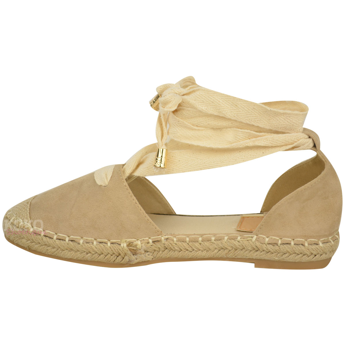Womens Ladies Lace Tie Up Low Flat Canvas Espadrilles Sandals Pumps Shoes Size