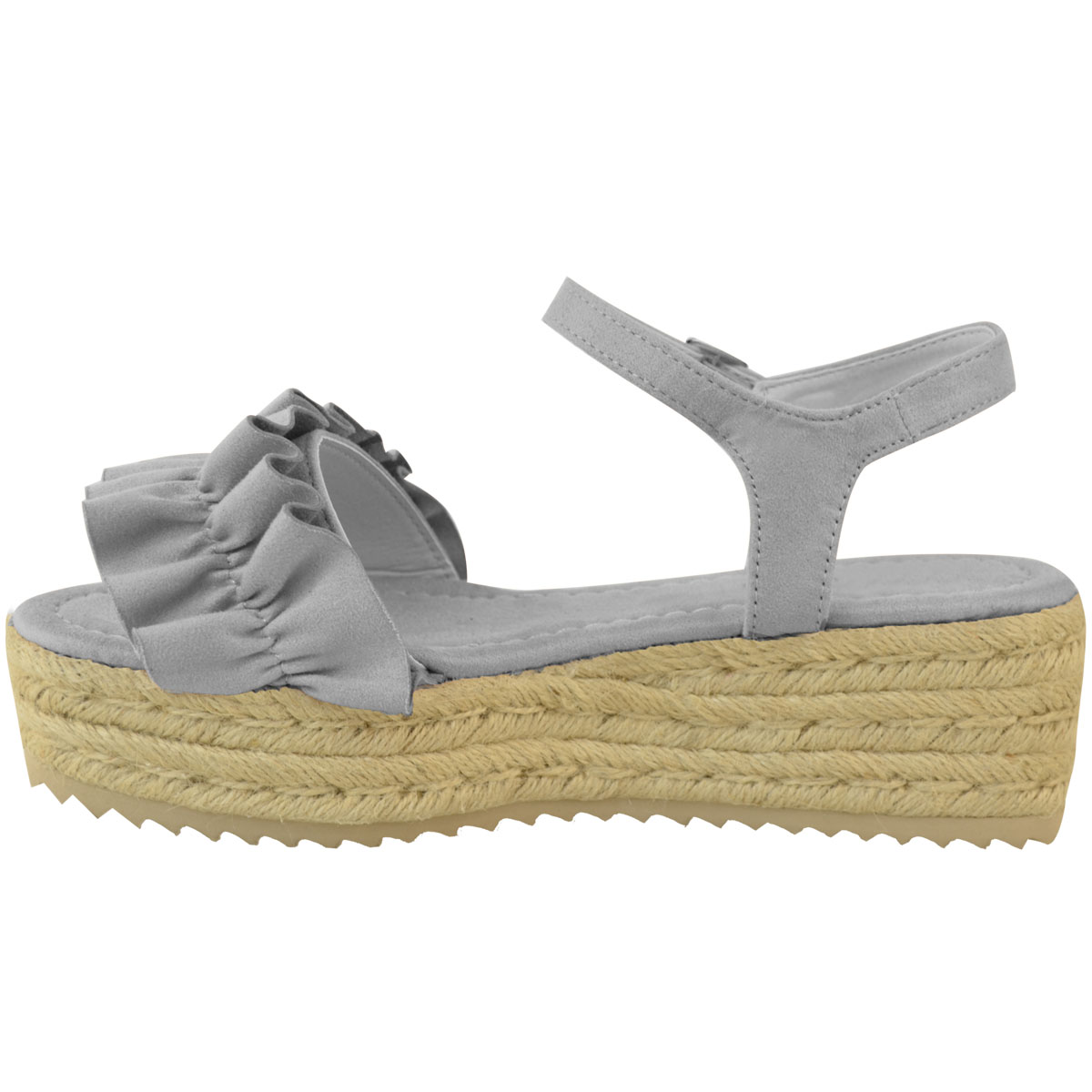 5109500a18b6 Womens Ladies Flatforms Wedge Sandals Frilly Summer Platforms Shoes ...