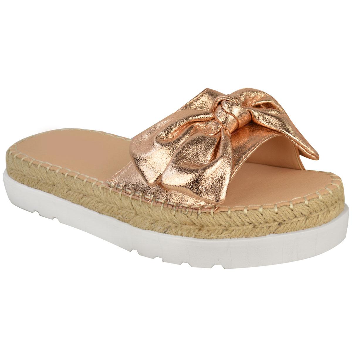 Womens Ladies Flatform Sandals Wedge Slip On Summer Shoes Holiday ...