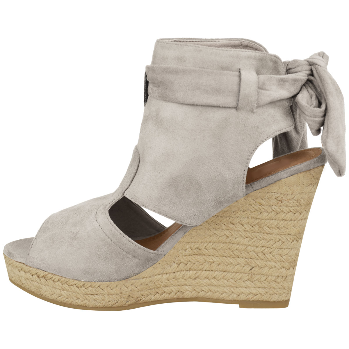 Womens Ladies High Wedge Espadrille Tie Up Platform