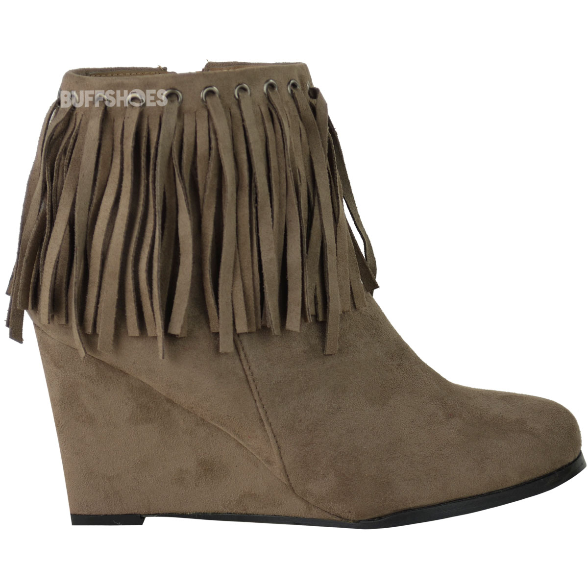 WOMENS LADIES WEDGE ANKLE BOOTS TASSEL FRINGE CHELSEA LOW MID HEEL ...