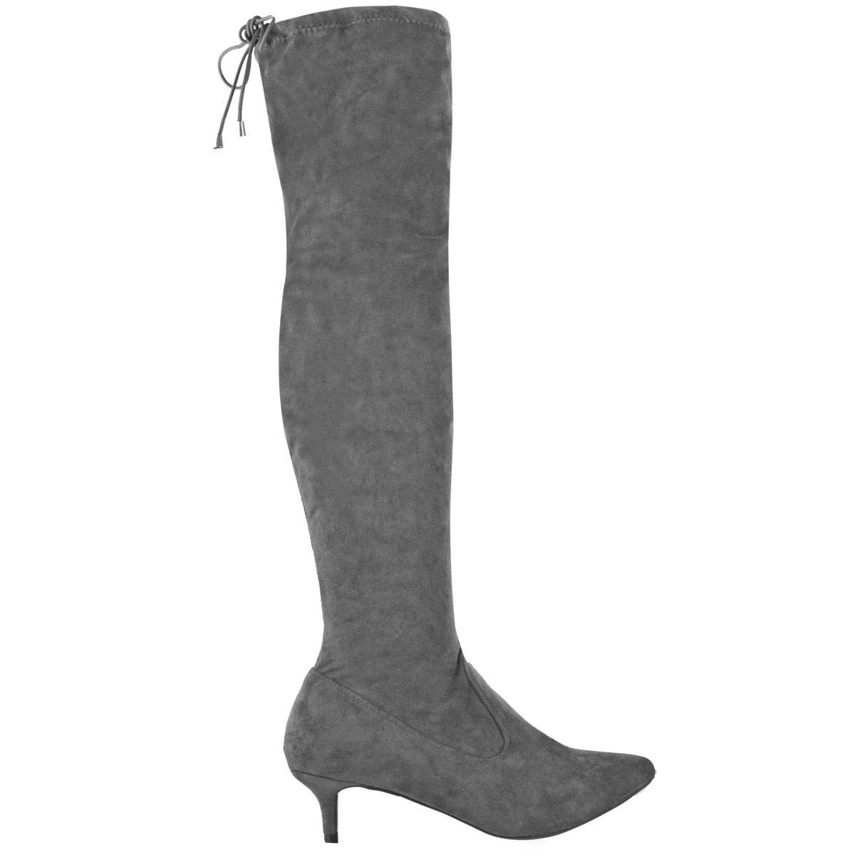 5f07137f398 Details about Womens Ladies Low Kitten Heel Thigh Knee High Boots Pointed  Stretchy Shoes Size