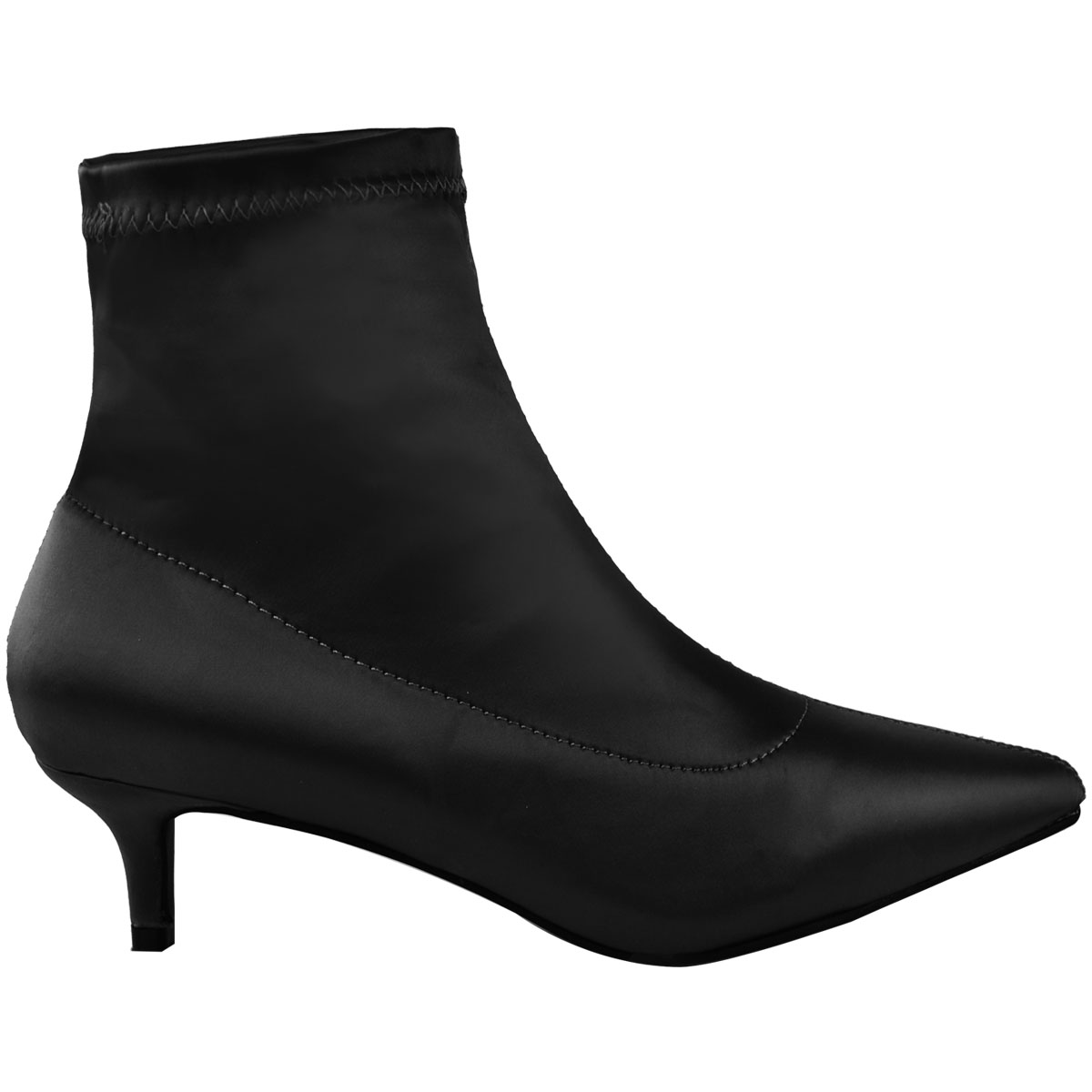 2eb28135cfe Ladies Womens Low Kitten Heel Ankle Boots Stretch Satin Pointed Toe ...