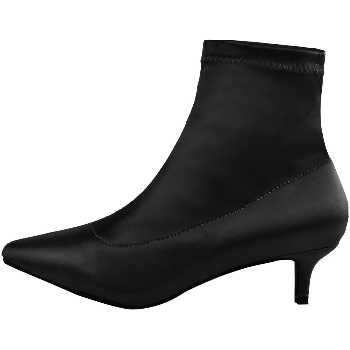 Ladies Womens Low Kitten Heel Ankle Boots Stretch Satin Pointed Toe Shoes Size