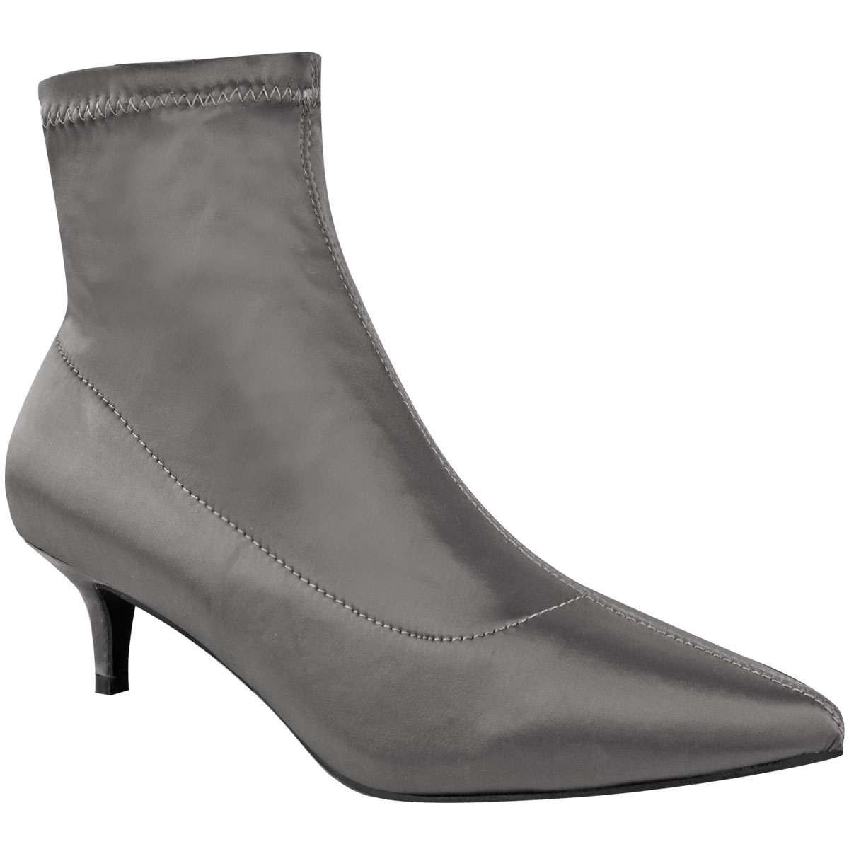 Ladies Womens Low Kitten Heel Ankle Boots Stretch Satin