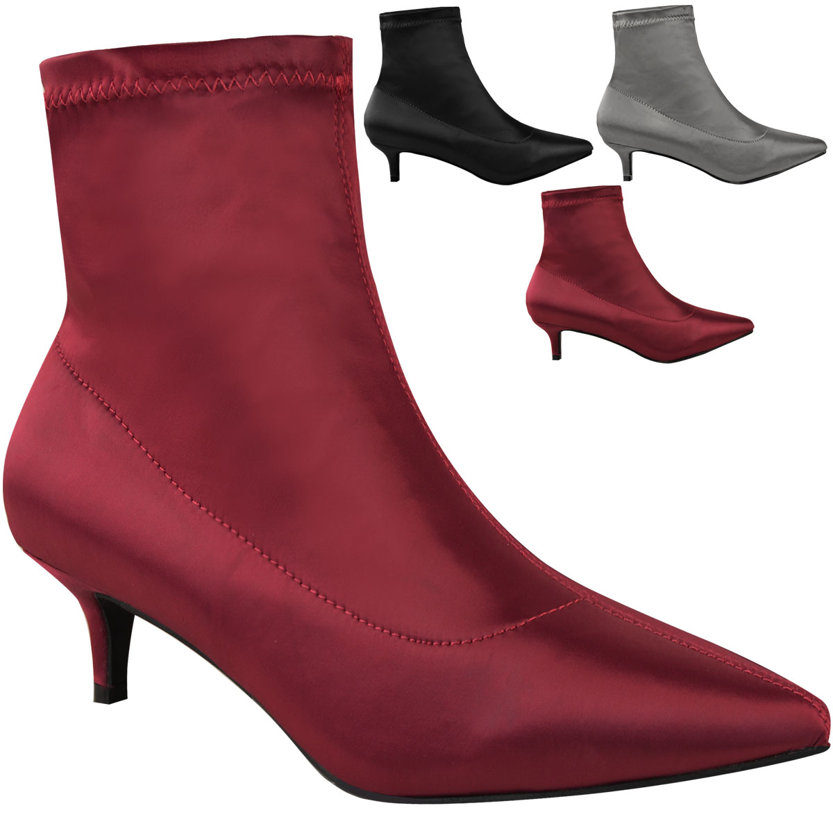 Ladies Red Black Patent Leather Mid Kitten Heel Ankle Boots Pointed Toe Shoes