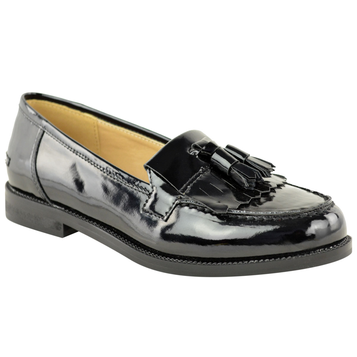 842ba67002482e WOMENS LADIES FLAT CASUAL OFFICE PATENT FAUX LEATHER FRINGE TASSEL ...
