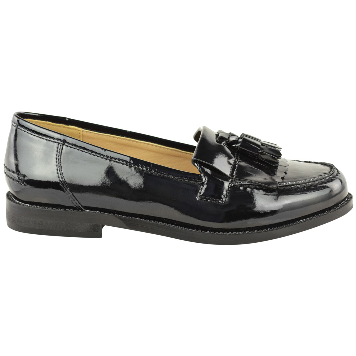 Womens-Ladies-Loafers-Brogues-Pumps-Casual-School-Office-Comfy-Work-Flats-Size thumbnail 15