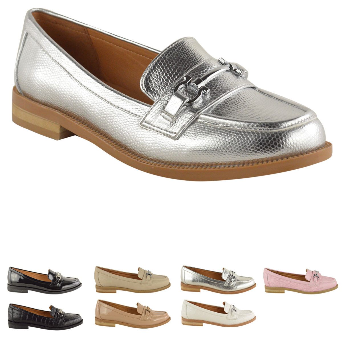 NEW LADIES WOMENS LOAFERS FLAT OFFICE WORK SCHOOL SMART FORMAL CASUAL SHOES SIZE | EBay