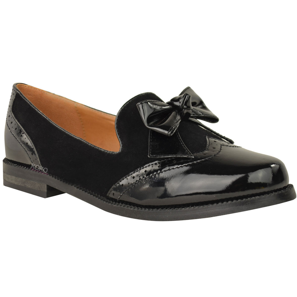WOMENS LADIES LOAFERS SHOES FLATS BOW FORMAL WORK OFFICE SMART SCHOOL PUMPS SIZE | EBay