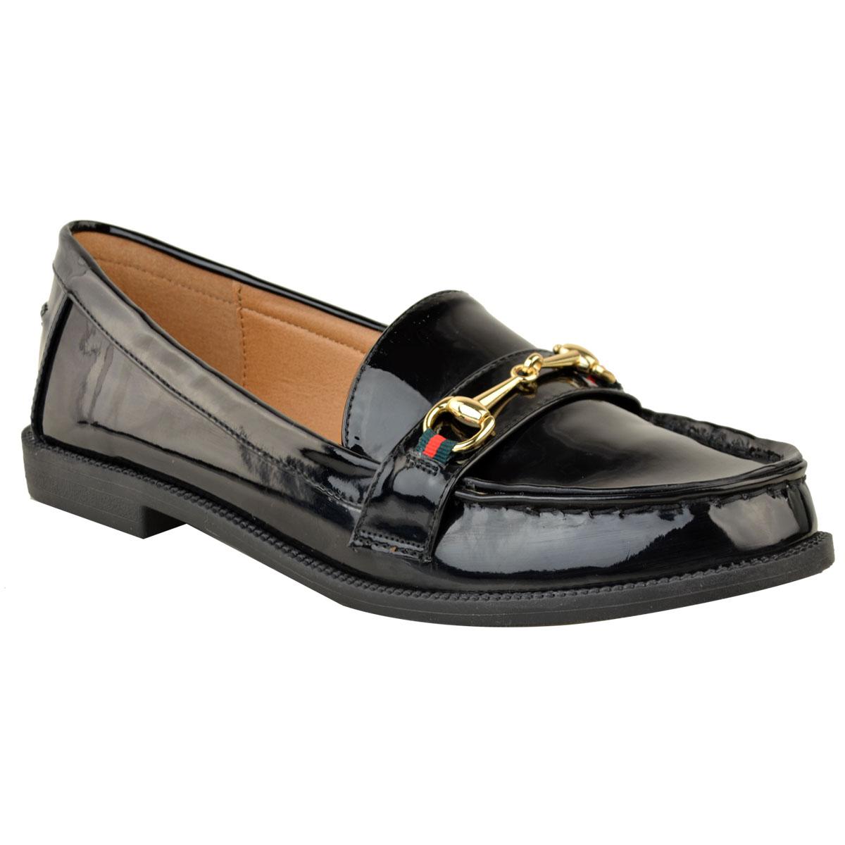 01e4ab9519c Womens Ladies New Flat Horsebit Loafers School Shoes Designer Smart ...