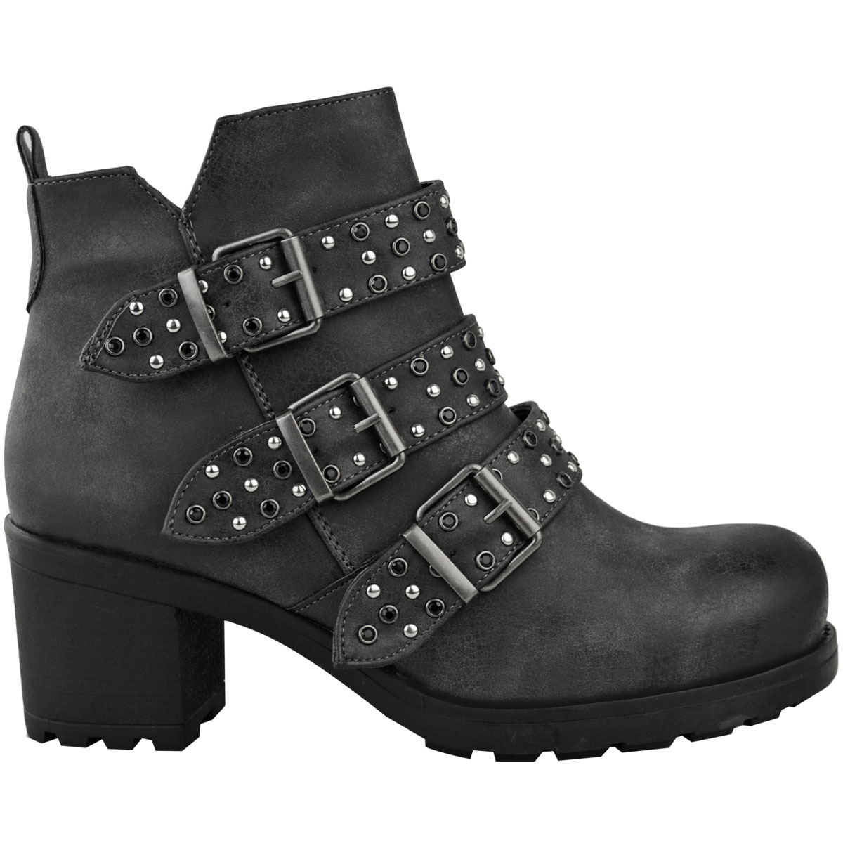 f2bbe98e11c8 Womens Ladies Studded Flat Ankle Boots Spikes Biker Punk Chunky ...