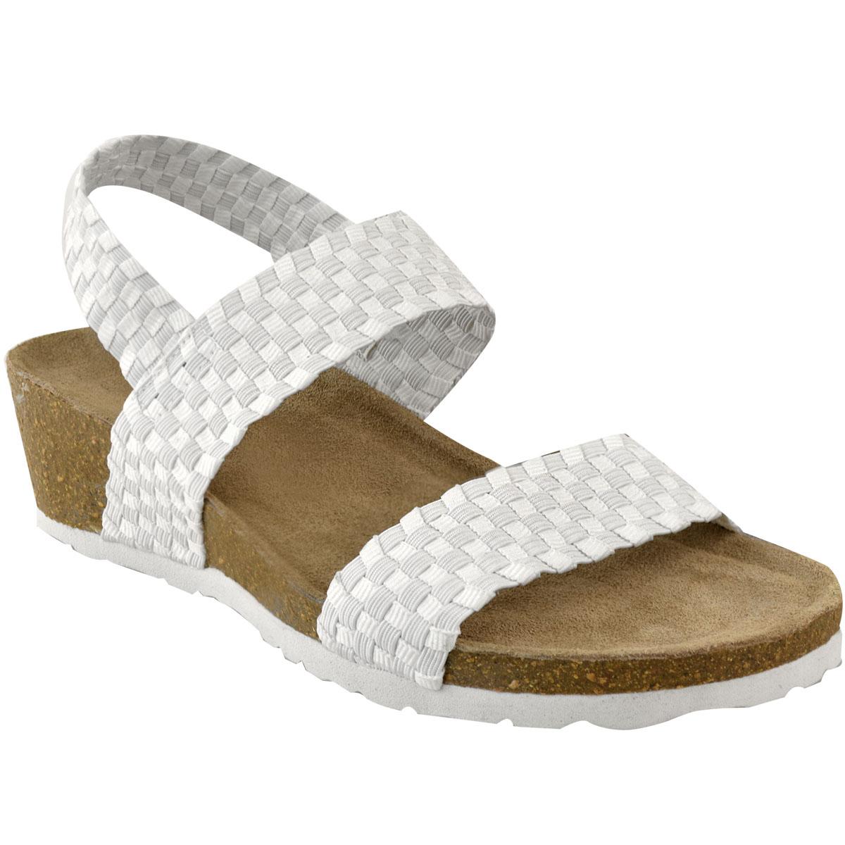 Womens Ladies Low Wedge Heel Sandals Wide Fit Elastic ...