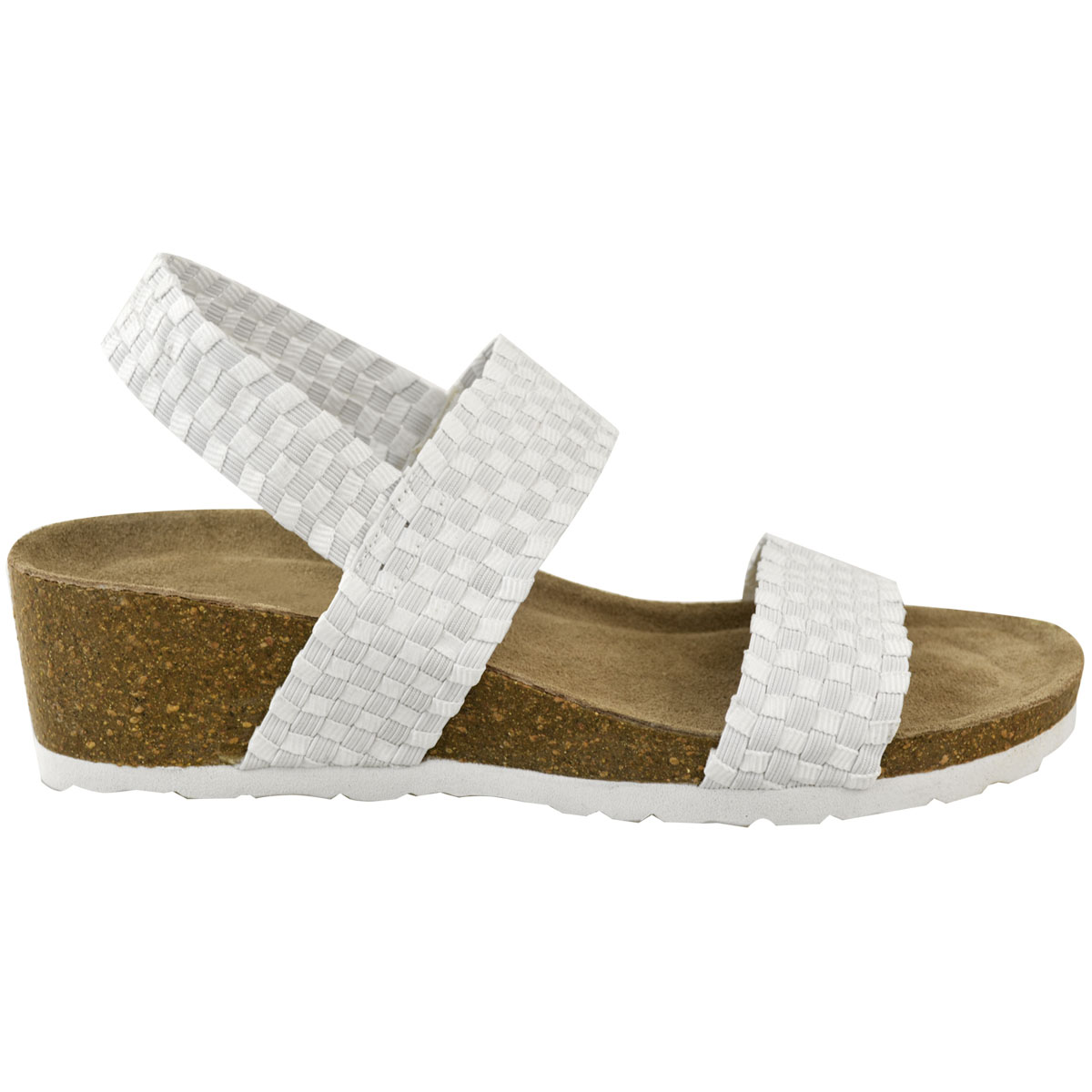 53a9310a61e Womens Ladies Low Wedge Heel Sandals Wide Fit Elastic Stretch ...
