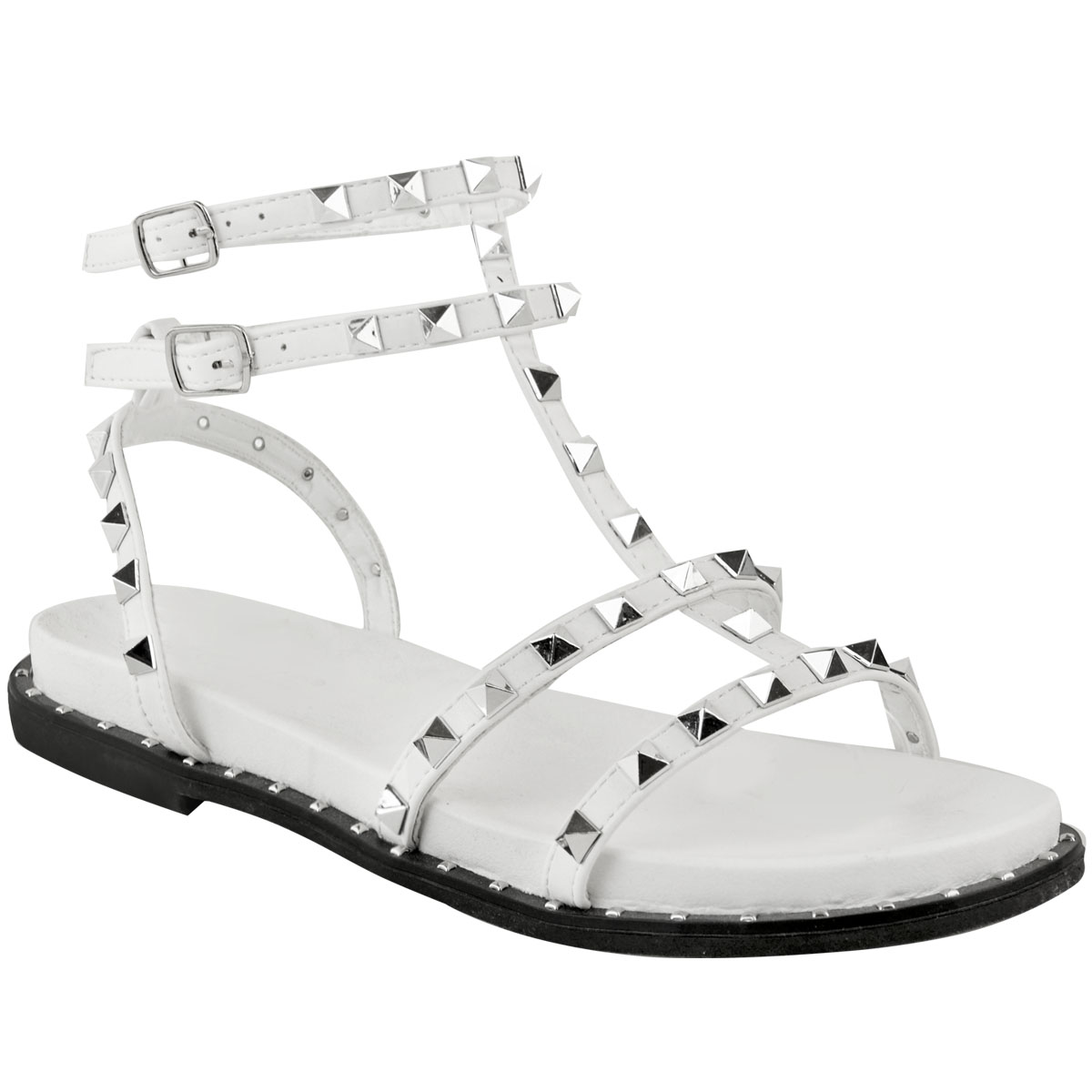 Details about Womens Ladies Flat Studded Sandals Summer Strappy Embellished Rock Shoes Size UK