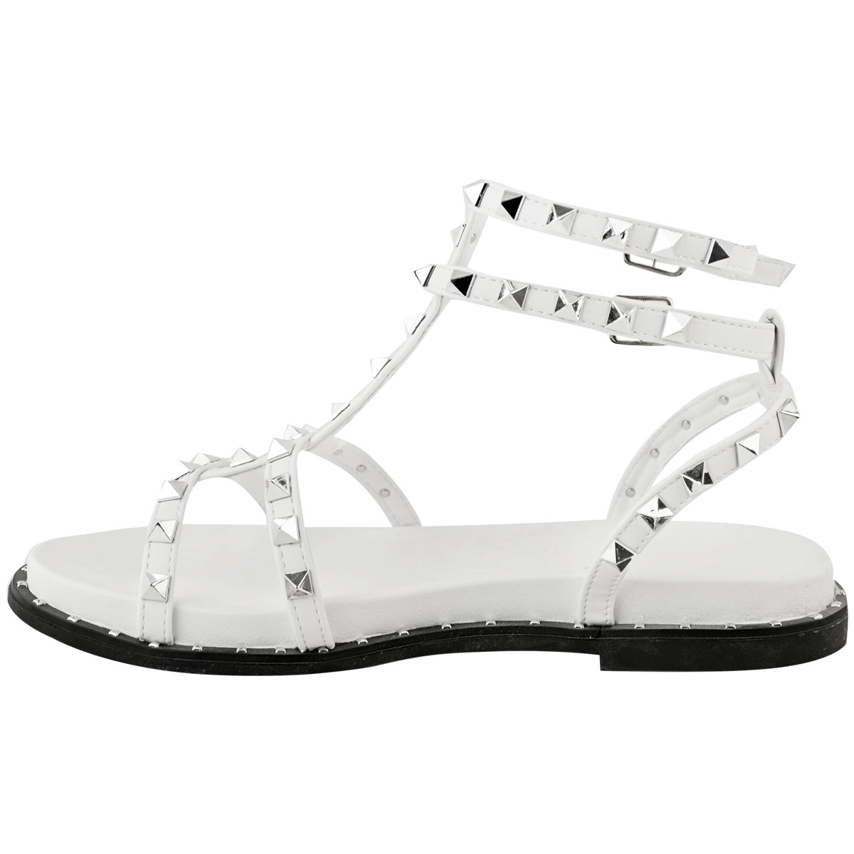 4752a4220ac7e Womens Ladies Flat Studded Sandals Summer Strappy Embellished Rock ...