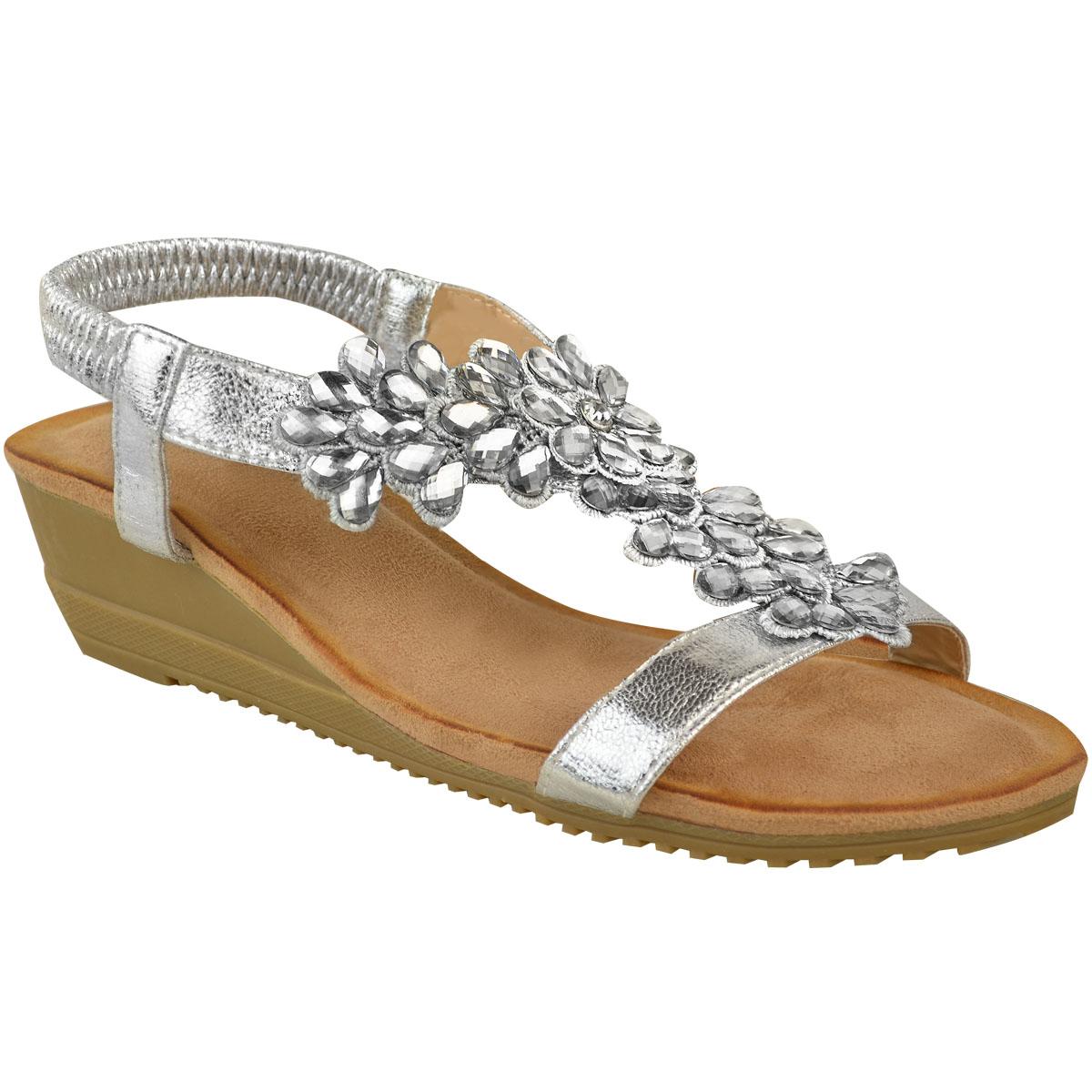 Mujer-Damas-Tacon-Bajo-Cuna-Zapatos-Sandalias-Diamante-Fiesta-Boda-Talla-Stretch