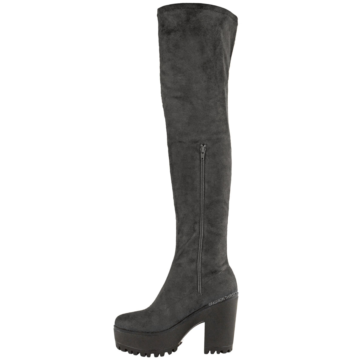 1a2f0299d6f Details about WOMENS LADIES SEXY OVER THE KNEE THIGH HIGH CHUNKY PLATFORM  HEEL STRETCH BOOTS