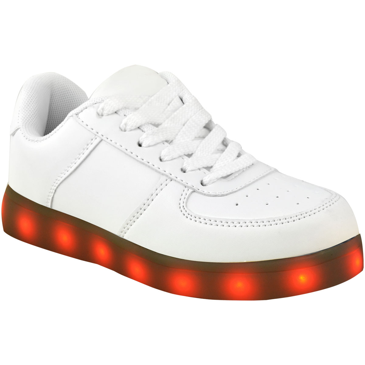 Bambini Ragazzi Ragazze LED Light Up Scarpe da ginnastica bianco USB CARICA Scarpe da ginnastica Pompe Scarpe Misura