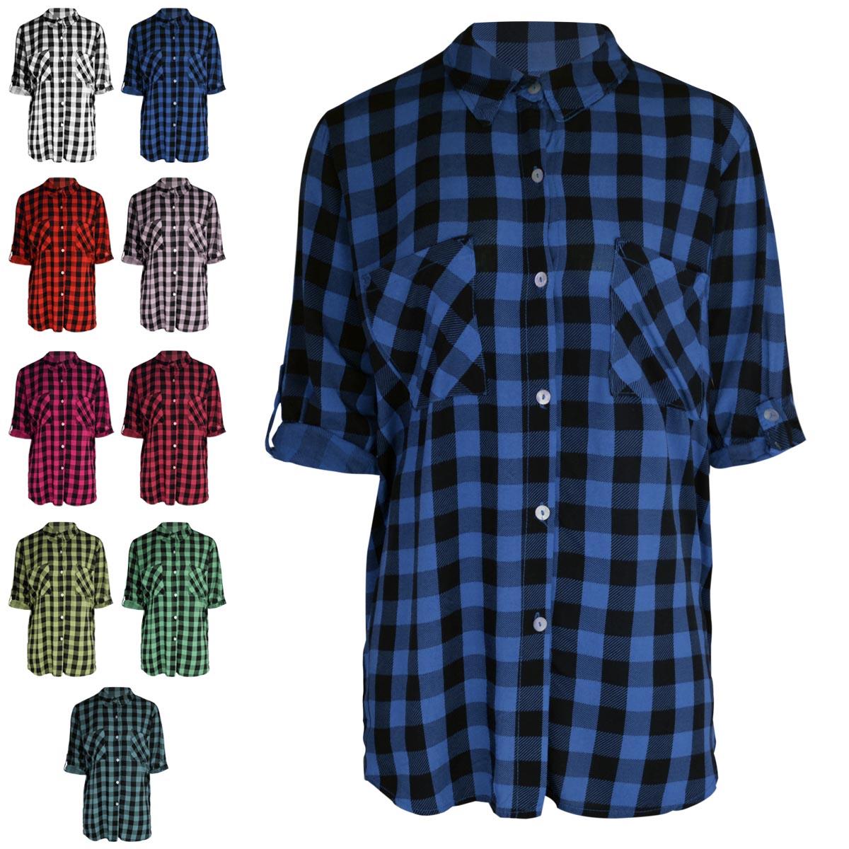 Ladies Womens Check Shirt Long Short Sleeve Flannel Lumberjack