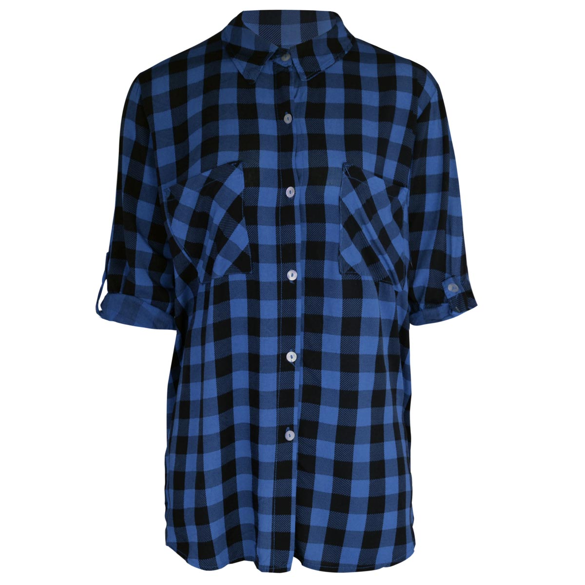 ladies womens check shirt long short sleeve flannel