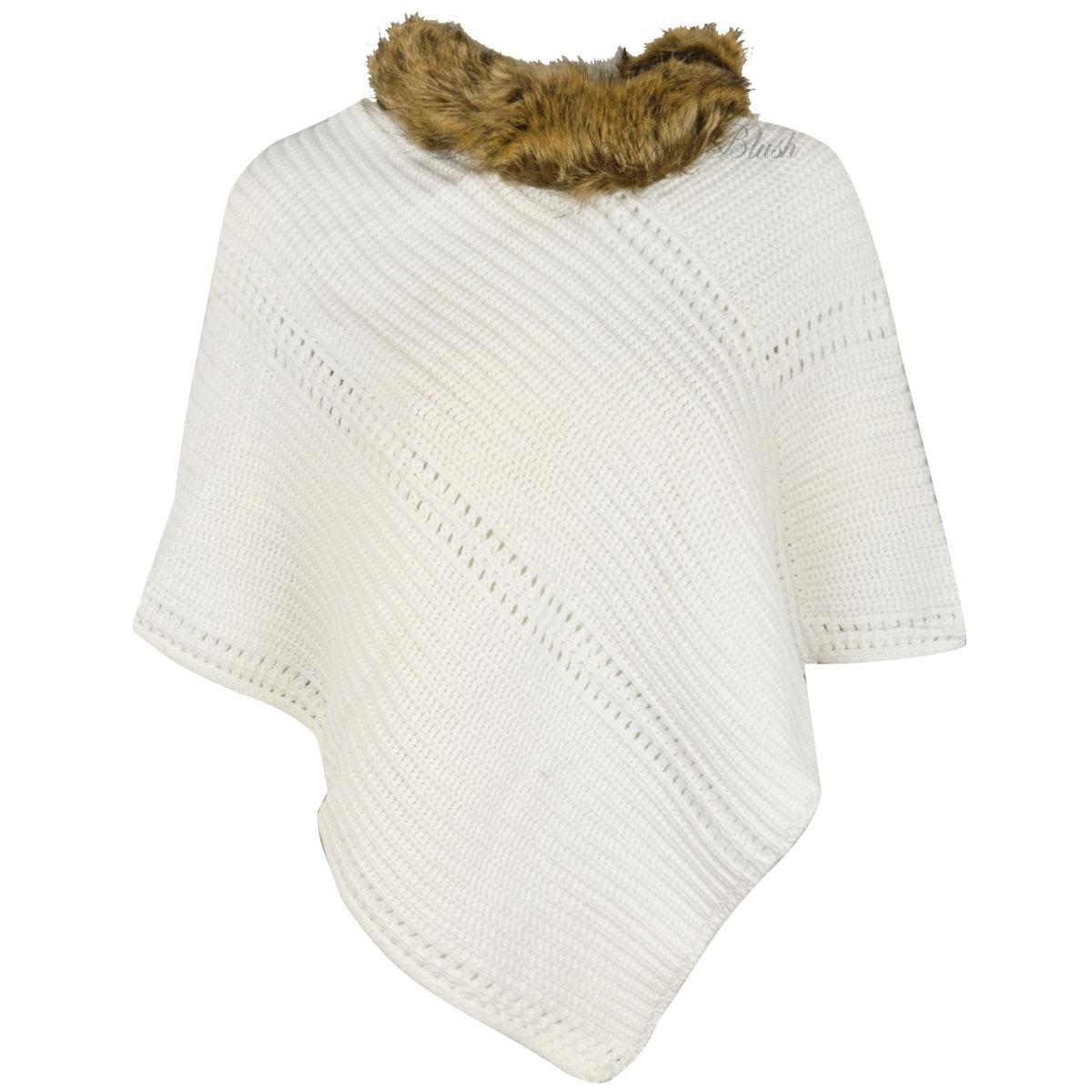 Cape Jumper Knitting Pattern : Girls Kids Knitted Poncho Fur Collar Cape Shawl Winter Jumper Sweater Top Siz...