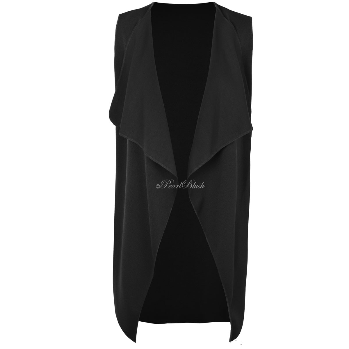 WOMENS LADIES SLEEVELESS OPEN WATERFALL WAISTCOAT DUSTER JACKET ...